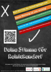 Plakat der Jugendumfrage des Bezirksamtes Reinickendorf